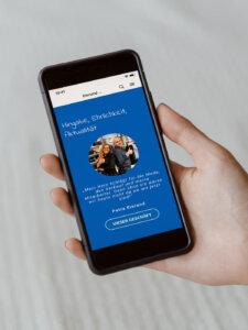 Smartphone Bildschirm mit geöffneter App vom Modehaus Eierund